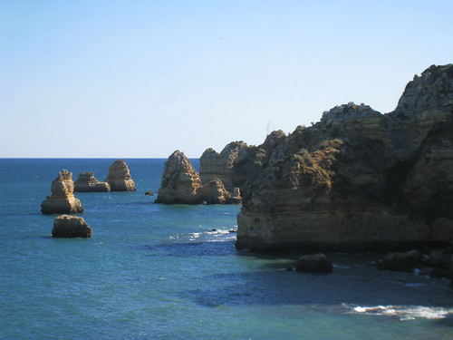 Sandstone cliffs & stacks at Praia Dona Ana, Lagos