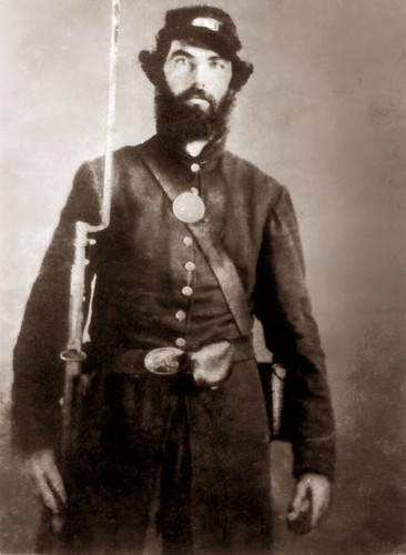 Company C, 125th IL Volunteer Infantry. Enlisted 14 Aug 1862; Date of muster: 3 Sep 1862; Wounded 27 Jun 1864 at Kenesaw Mountain, Georgia; Discharged 18 Mar 1865 as Sergeant. At the Battle of Kennesaw Mountain, he was wounded in the left knee and right heel from the same bullet. Due to poor medical care, gangrene set in requiring five operations, from which he nearly died. He was in hospitals from Sept. 1864 to March 1865, when he was discharged and sent home.  Kenesaw Mountain, where he was wounded, is 25 miles northwest of Atlanta, Georgia, and is famous as the scene of the Civil War battle between the Union troops under Sherman and the Confederate troops under Johnston, which took place in June 1864 and resulted in the repulse of Sherman with a loss of 3,000 men. He was also at the battles of Perryville, Chickamauga, Missionary Ridge, and Resaca. Richard was discharged from the Army in Chicago, 18 Mar 1865, and returned to his home in Peoria on crutches. Being medically discharged, he received a pension of $5 per month for the rest of his life, and suffered from oozing wounds until his death in 1898.