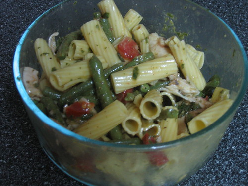 Leftover pasta salad with steamed green beans, tomatoes and grilled chicken
