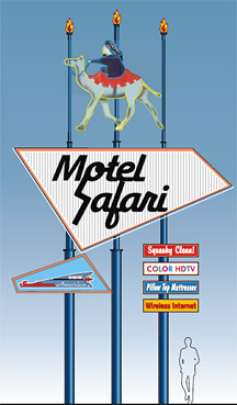 An artists rendering of a proposal for the Motel Safaris neon sign.