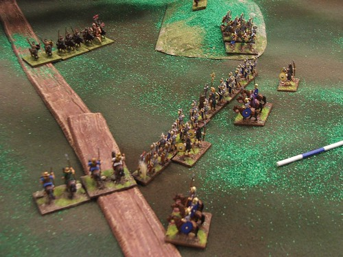 Road Confrontation! My General (Athanasius) considers his move.