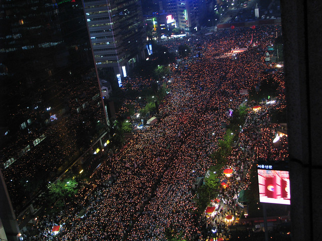 Protest at night
