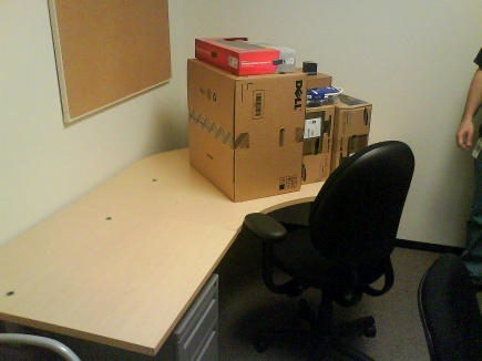 My desk, as I found it last Tuesday after orientation