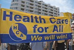 Health care for all protest outside health ins...