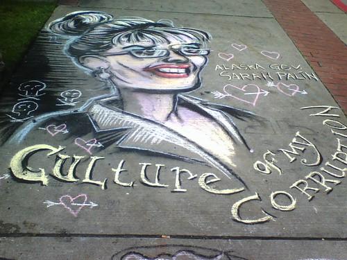 Sarah Palin in Chalk by Tacoma Urbanist.