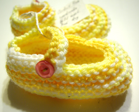Yellow and White Mary Jane </p> <table style=