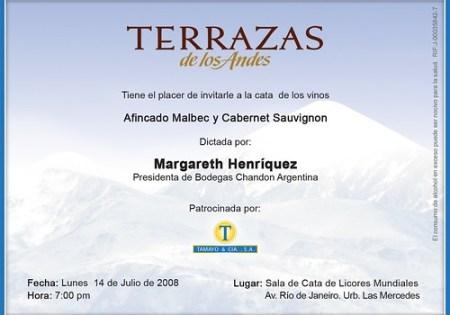 Invitaci?n Cata Terrazas de Los Andes-Lunes 14.07.08