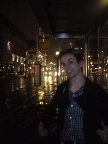 Myself, at a London bus stop.