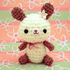 Amigurumi Cream Bunny Rabbit with flower and ribbon
