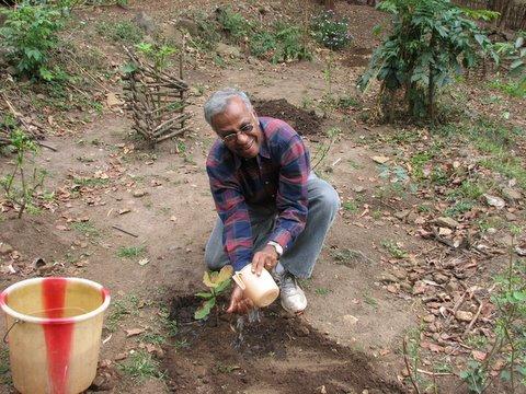KM planting a sapling kgudi 170308