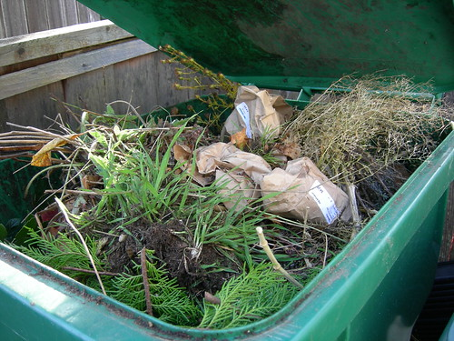 Bulb bags in the yard waste