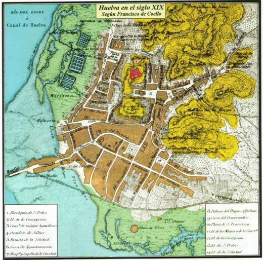 Plano de Huelva en el siglo XIX (El castillo ha sido añadido para situarlo en el plano). Se puede observar junto a la Parroquia de la Concepción un recuadro sobre el Hospital de la Caridad