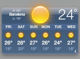 Weather widget con tiempo soleado