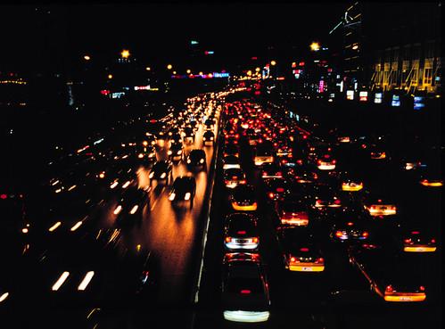 Driving at night, Beijing. Photo by Sonya.