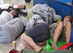 Travelers sleeping in the Zagreb train station