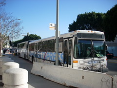 Commuter Express buses at layover zone, downto...