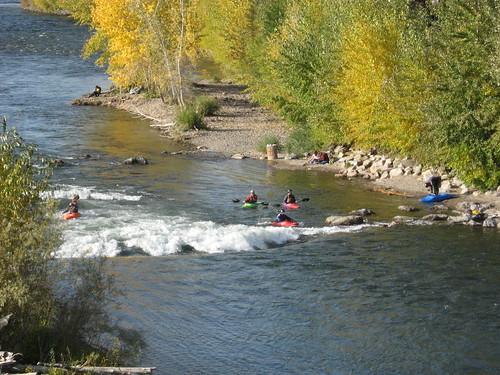 Kayakers at Brennan's Wave