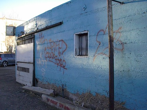 Jailhouse with Graffitti, now painted over.