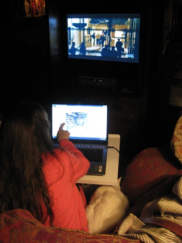Wife, Cat, Sweater, Laptop & TV