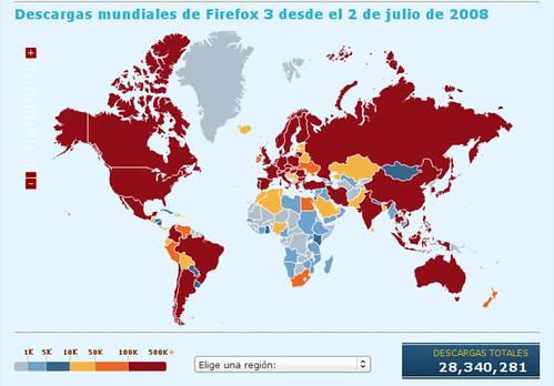 Mapa descargas de Firefox 3