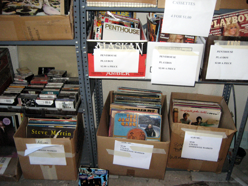 Records, tapes, and girlie mags