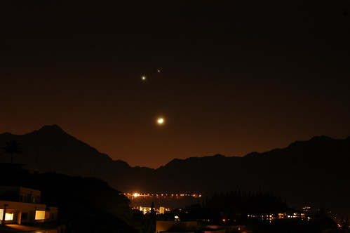 Jupiter, Venus, and the Moon over Oahus Koolau mountains.