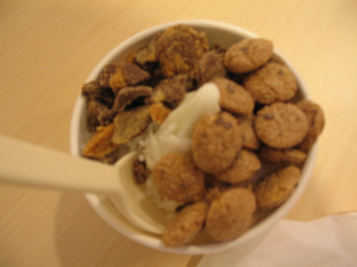mr. yogato tangy with peanut butter, cookie crisp and coconut