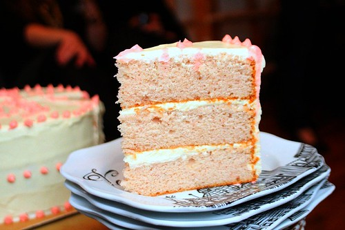pink lady cake, sliced