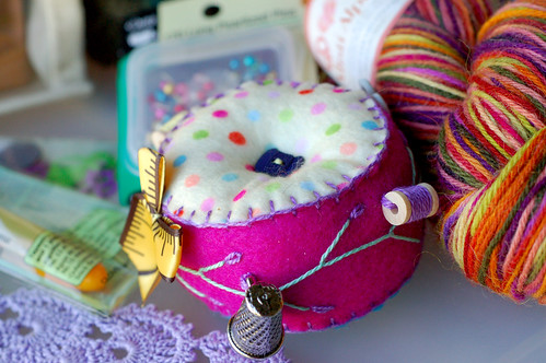 pin cushion and other knitting/sewing notions