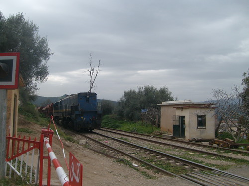 Train passant a coté d'une barriére
