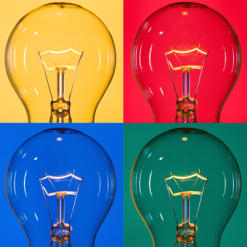 Image of four light bulbs, in Pop Art style