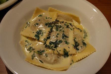 Porcini Ravioli in Herbed Cream Sauce