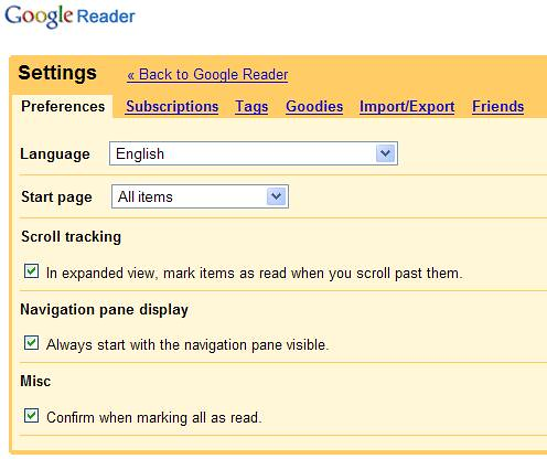 Google Reader - Settings-Preferences-Tab