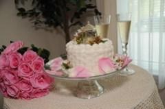 Check out the cute mini-gazebo cake topper!
