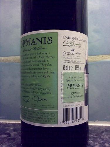 McManis Limited Release Cabernet Sauvignon 2006 back label
