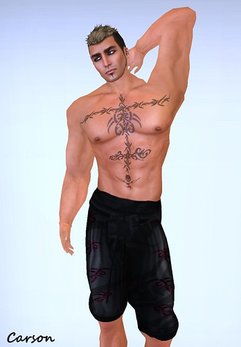 RFyre Black Baggy Shorts and Chest Tattoo