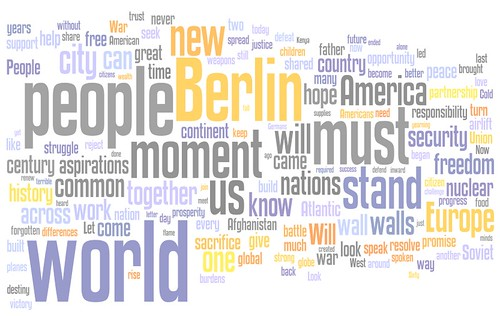 Obama's Berlin speech word cloud, image by Tim Bonnemann of Plansphere