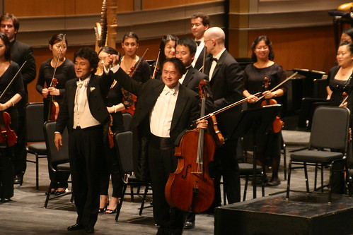 After the Saint-Saens Concerto, Shinik Hahm and Jian Wang accept warm applause.