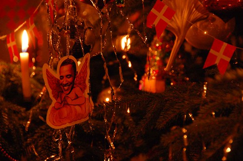 We always add new Christmas ornaments to our tree. This year one of them was this little Obama-putto. We put him next to a glass globe in the hope that he will set everything right.