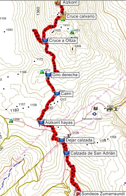 Mapa  de la ascensión al Aizkorri desde Zalduondo