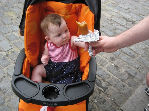 Offering a corn dog to a baby?  Sure, why not?