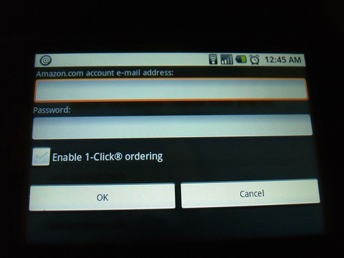 Amazon MP3 login screen