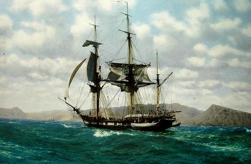 hms beagle off the galapagos by john chancellor