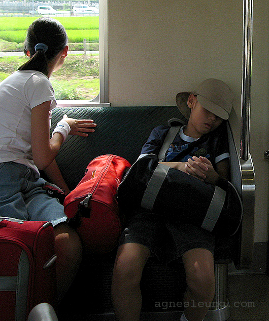 My kids on train