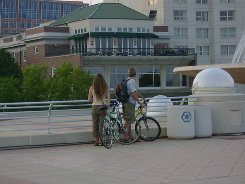 A view of a couple on top of Monona Terrace