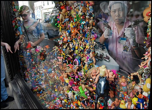 Installation in Libertys window, by Michael Wolf. It pays tribute to the Chinese factory workers who make 75% of the worlds toys