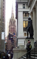 Upper Wall Street with Trinity Church and Fede...