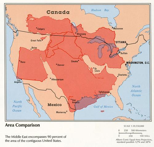 Middle East, Area Comparison