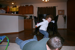 Jumping over daddy!
