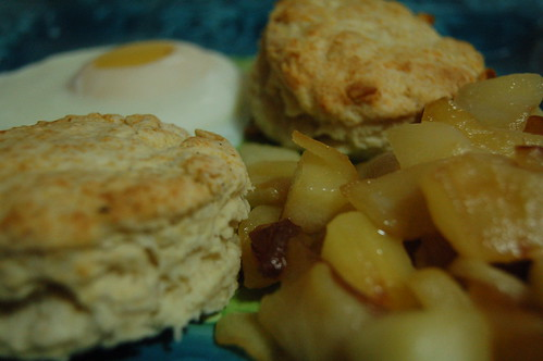 White cheddar scones, fried apples and poached egg